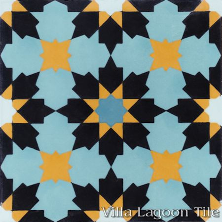 """Casablanca Primero"" Encaustic Cement Tile, from Villa Lagoon Tile."