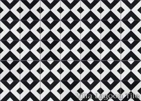 Charge Black & White cement tile, from Villa Lagoon Tile.