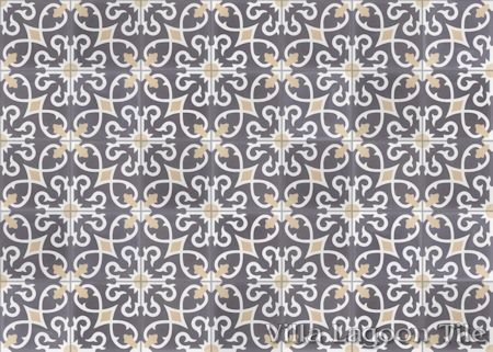 Charlotte Excalibur cement tile, in a 9x6 layout, from Villa Lagoon Tile.