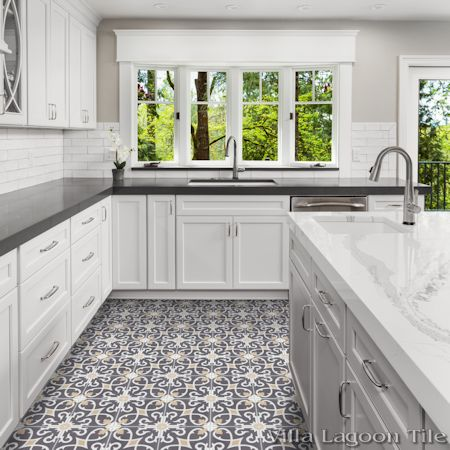 Charlotte Excalibur cement tile kichen floor, from Villa Lagoon Tile.