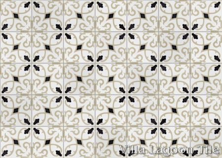 Charlotte Primero cement tile, in a 9x6 layout, from Villa Lagoon Tile.