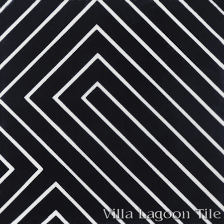 Circuitry Black & White Evening cement tile, from Villa Lagoon Tile.