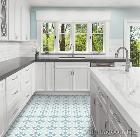 """Circulos A Cielo"" cement tile kitchen floor, by Villa Lagoon Tile."