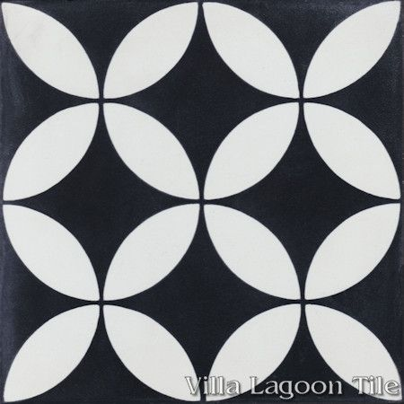 """Circulos B Black and White Evening"" Encaustic Cement Tile, from Villa Lagoon Tile."