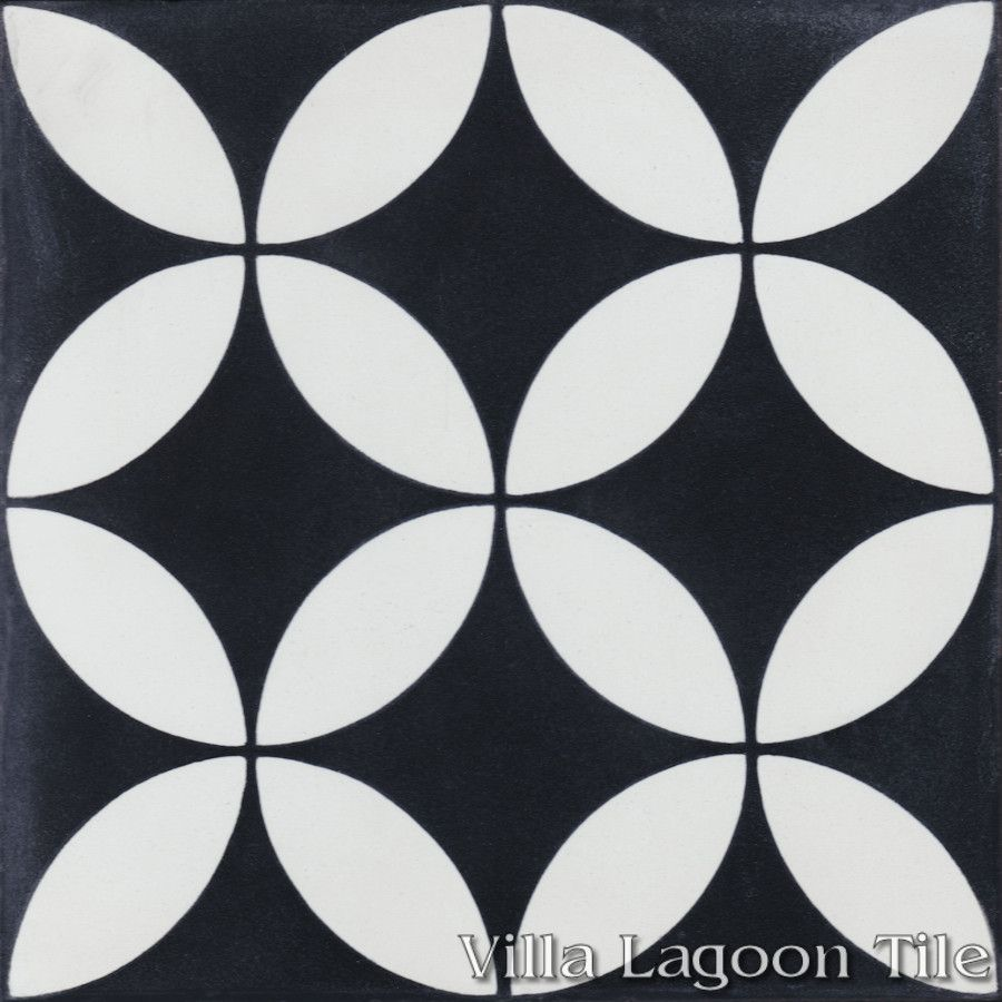 Circulos b black and white cement tile villa lagoon tile for Black and white tile floors