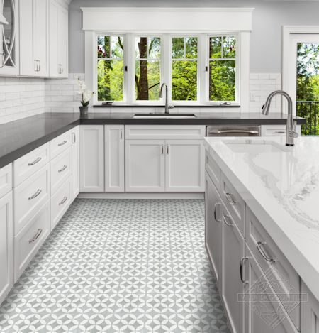 """Circulos B Urban Gray Terrazzo (PS)"" cement tile kitchen floor, by Villa Lagoon Tile."