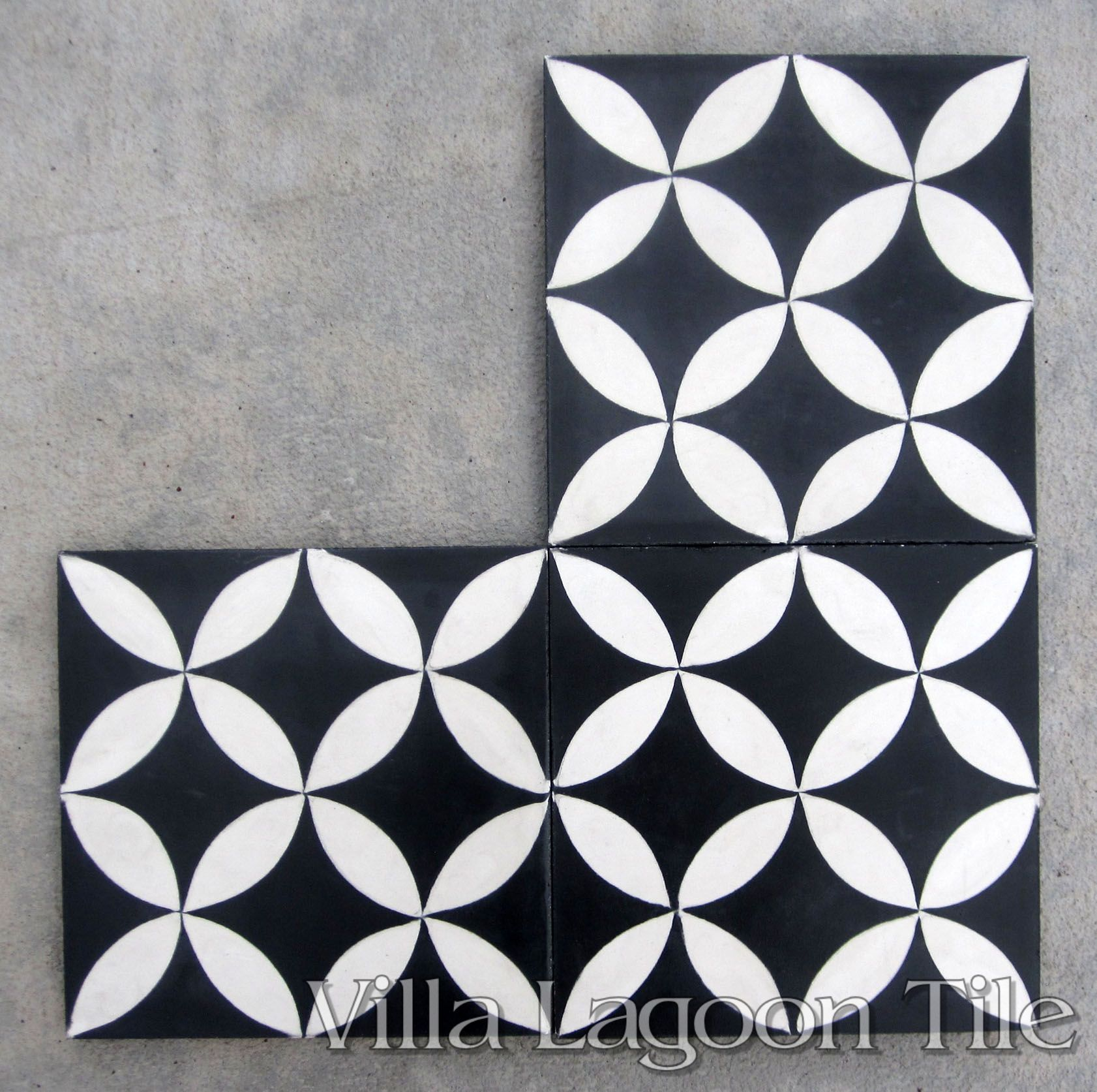 Circulos Black And White Cement Tile Villa Lagoon Tile