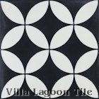 """Circulos B Black and White Evening"" Cement Tile"