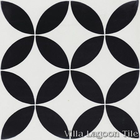 """Circulos B Black and White Morning"" Encaustic Cement Tile, from Villa Lagoon Tile."
