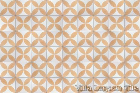 Circulos Four Peach cement tile, in a 9x6 layout.