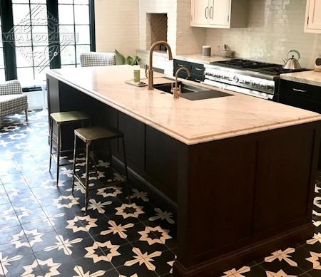 Comino Black and Alabaster cement tile, in a 7x5 layout.