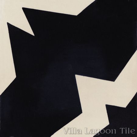 Comino Black and Alabaster cement tile, from Villa Lagoon Tile.