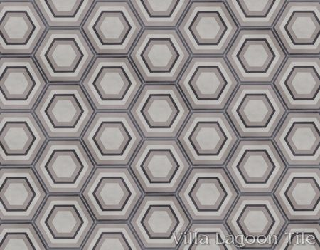 Concentric Hex C hexagonal cement tile, in a 9x6 layout, from Villa Lagoon Tile.