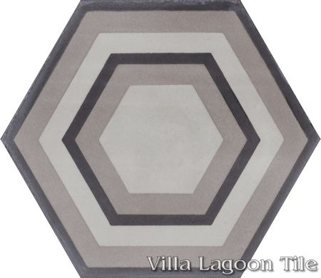 "Concentric Hex ""C"" hexagonal cement tile, from Villa Lagoon Tile."