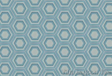 Concentric Hex D hexagonal cement tile, in a 9x6 layout, from Villa Lagoon Tile.