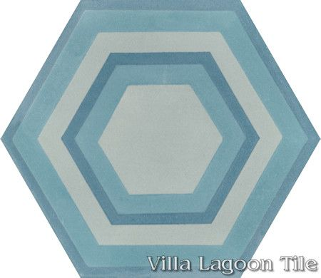 "Concentric Hex ""D"" hexagonal cement tile, from Villa Lagoon Tile."