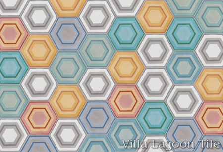 "Mixed ""Concentric Hex"" hexagonal cement tile, in a 9x6 layout, from Villa Lagoon Tile."