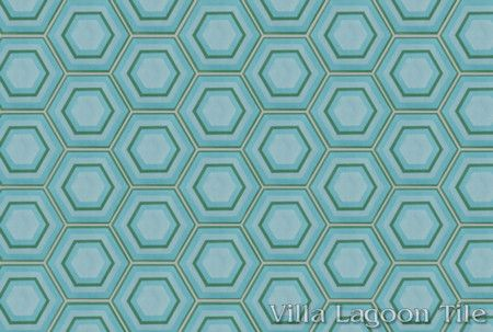 Concentric Hex E hexagonal cement tile, in a 9x6 layout, from Villa Lagoon Tile.