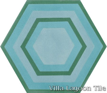 "Concentric Hex ""E"" hexagonal cement tile, from Villa Lagoon Tile."