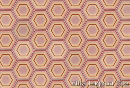 Concentric Hex F hexagonal cement tile, in a 9x6 layout, from Villa Lagoon Tile.