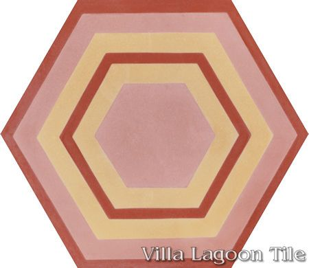 "Concentric Hex ""F"" hexagonal cement tile, from Villa Lagoon Tile."