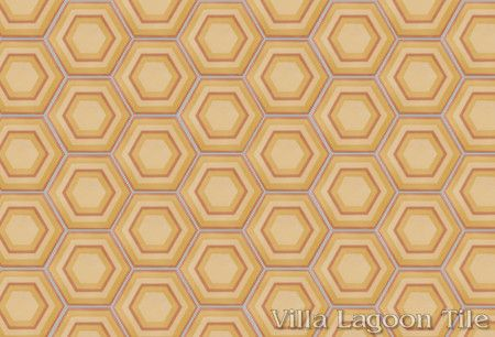 Concentric Hex G hexagonal cement tile, in a 9x6 layout, from Villa Lagoon Tile.