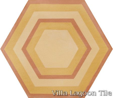 "Concentric Hex ""G"" hexagonal cement tile, from Villa Lagoon Tile."