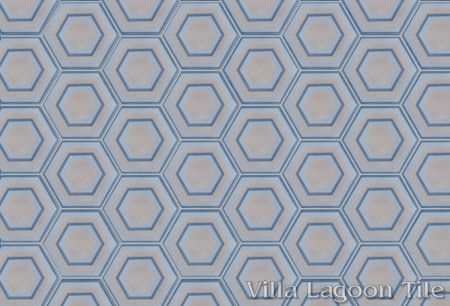 Concentric Hex H hexagonal cement tile, in a 9x6 layout, from Villa Lagoon Tile.