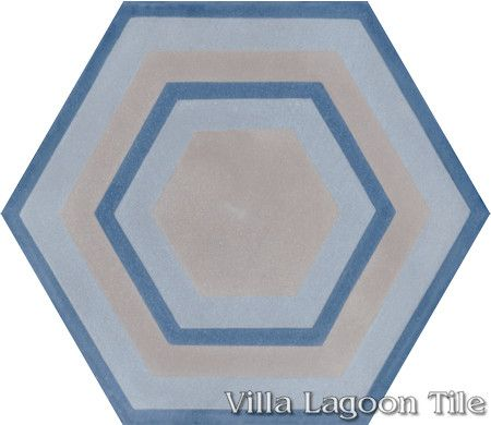 "Concentric Hex ""H"" hexagonal cement tile, from Villa Lagoon Tile."