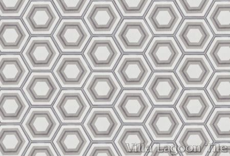 Concentric Hex J hexagonal cement tile, in a 9x6 layout, from Villa Lagoon Tile.