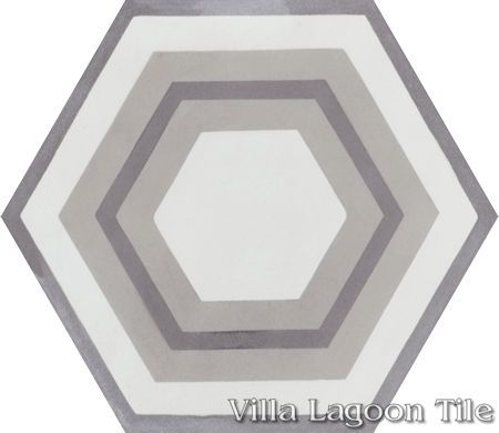 "Concentric Hex ""J"" hexagonal cement tile, from Villa Lagoon Tile."
