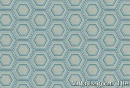 Concentric Hex K hexagonal cement tile, in a 9x6 layout, from Villa Lagoon Tile.