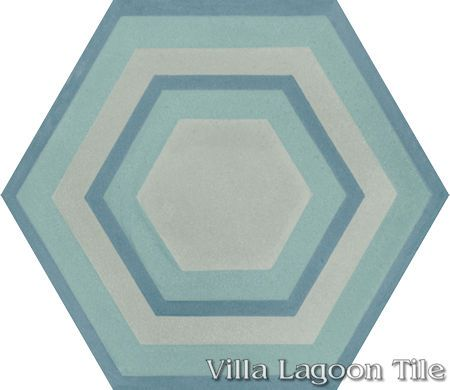"Concentric Hex ""K"" hexagonal cement tile, from Villa Lagoon Tile."