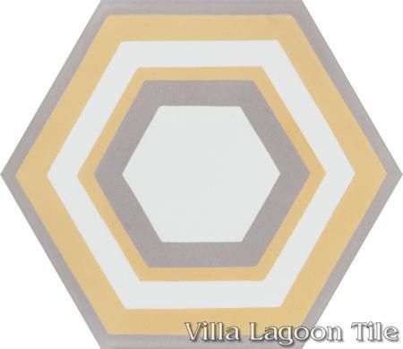 "Concentric Hex ""L"" hexagonal cement tile, from Villa Lagoon Tile."