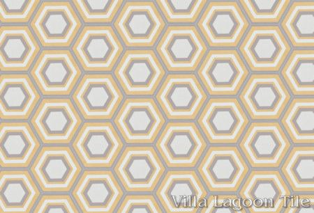 Concentric Hex L hexagonal cement tile, in a 9x6 layout, from Villa Lagoon Tile.
