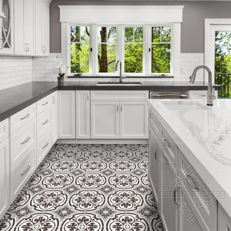 Danielle Espresso cement tile, in a 9x6 layout, from Villa Lagoon Tile.