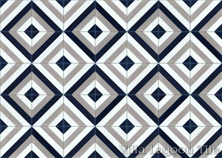 Diagonal Eight Navy cement tile, from Villa Lagoon Tile.