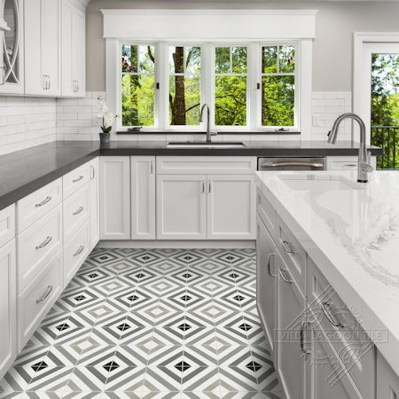 Diagonal Eight Shades of Gray cement tile, in a 9x6 layout, from Villa Lagoon Tile.