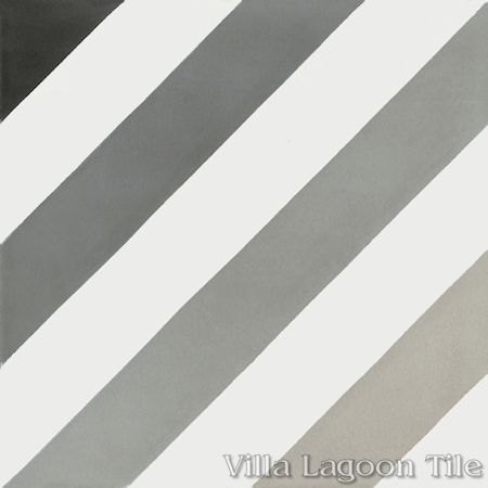 Diagonal Eight Shades of Gray cement tile, from Villa Lagoon Tile.