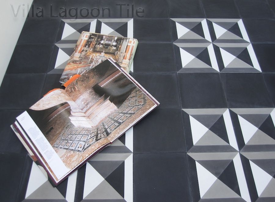 Diamond Head cement tile, with solid black tiles.
