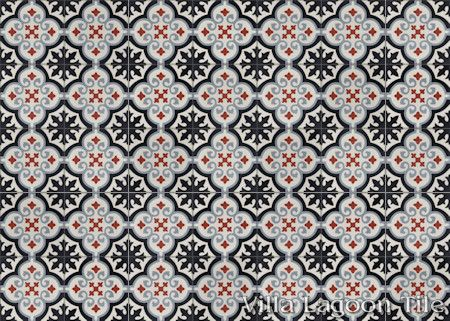 Fiore E Winter cement tile, in a 9x6 layout.