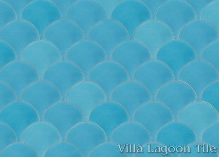 Solid Fishscale Brilliant Sea cement tile, from Villa Lagoon Tile.