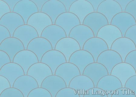 Solid Fishscale Miami Blue cement tile, from Villa Lagoon Tile.
