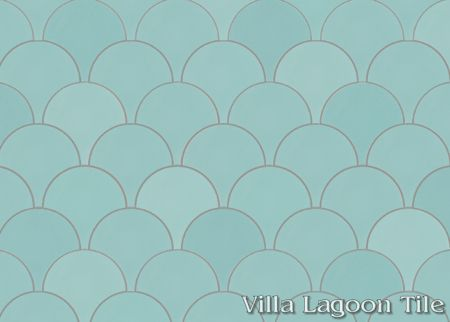 Solid Fishscale Seaside Blue cement tile, from Villa Lagoon Tile.