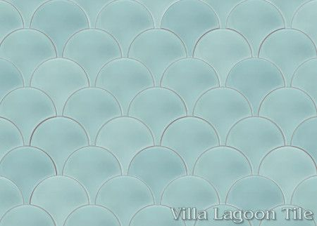 Solid Fishscale Velvet Sky cement tile, from Villa Lagoon Tile.
