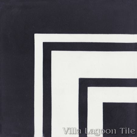 Francis Stripe Border Edge Black & White cement tile, from Villa Lagoon Tile.