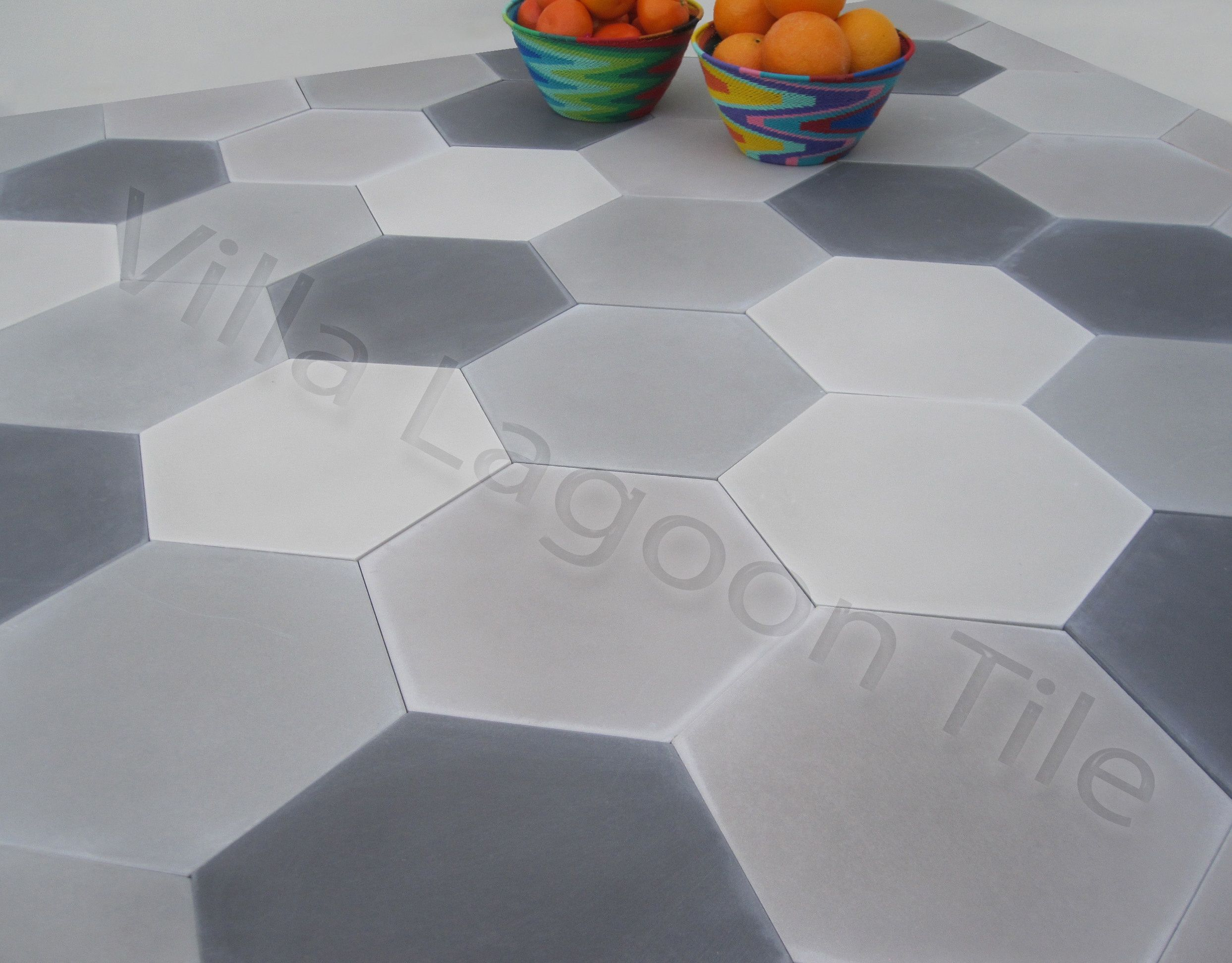 Click for Larger Image. & Mixed Gray Hex Cement Tile | Villa Lagoon Tile