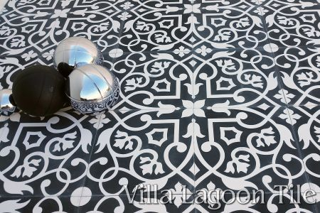 Gypsy Black & White cement tile floor, a Villa Lagoon Tile exlcusive.