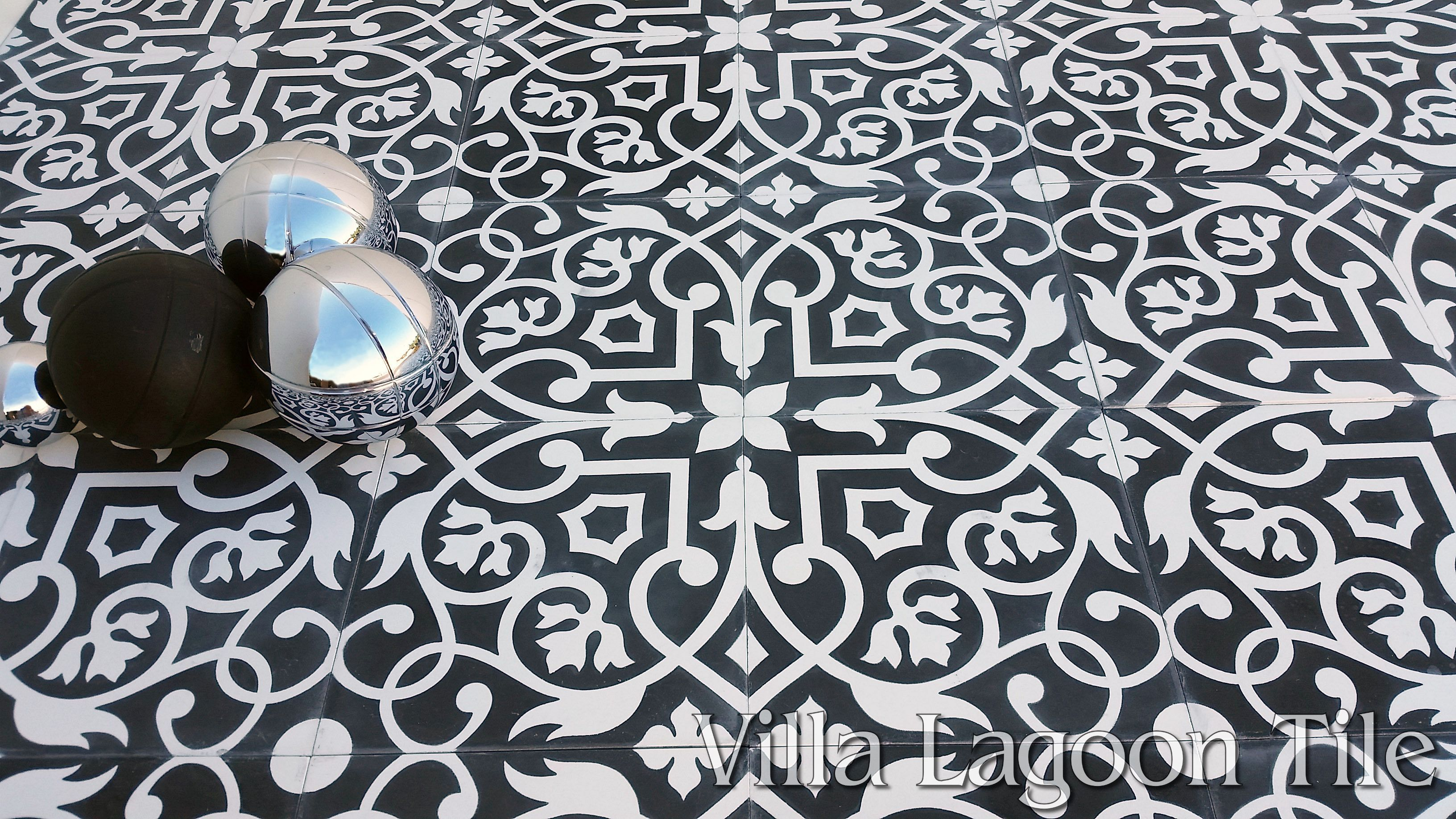 Gypsy black white cement tile villa lagoon tile for Black and white tile floors