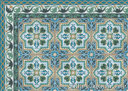 Habanero Jardin cement tile, from Villa Lagoon Tile.